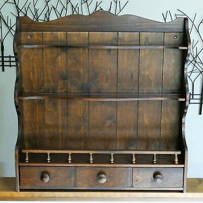 Vintage Cup Plate Wood Free Standing / Wall Cabinet 3 Shelves & 1 Drawer Storage