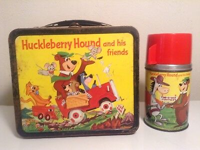 Vintage Metal Lunch Box With Thermos Huckleberry Hound Quick Draw Mcgraw
