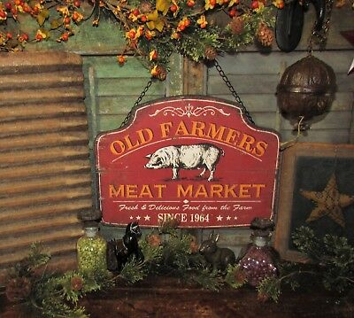 Primitive Antique Vtg Style 1964 Old Farmers Meat Market Barn Yard Pig Hog Sign
