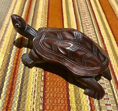Equisite hand carved wooden turtle