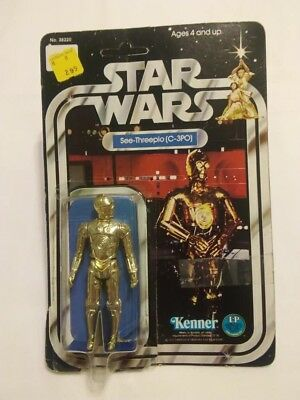 Vintage 1978 Star Wars C3-PO 12 Back B Card Open Bubble Figure Footer Unpunched