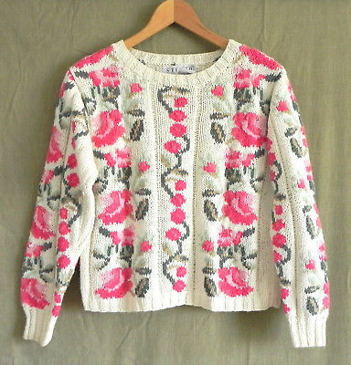 Vtg Studio Michelle Stuart Hand Knit Sweater Floral Pull Over Cotton Blend Size