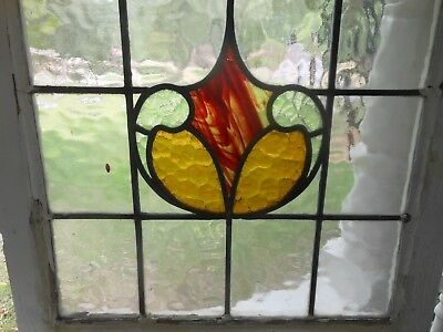 P123 Lovely Older Leaded Stained Glass Window From England 20 3/8 X 20 5/8