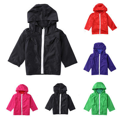 CO_ Kids Children Waterproof Lightweight Jacket Outwear Hooded Raincoat Splendid