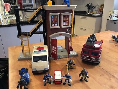 FISHER PRICE Imaginext FIRE STATION & ENGINE AMBULANCE figures