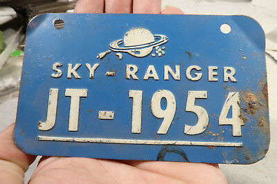 g Sky Ranget Space Age Bicycle License Plate JT 1954