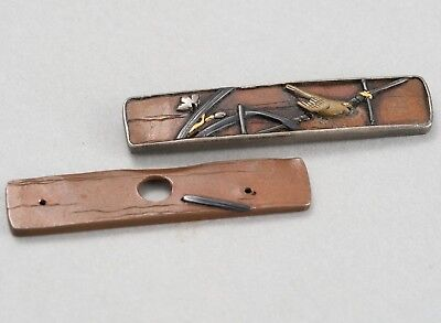 Meiji era Antique Japanese Small Size Metal Fittings of Tobacco Pouch, Kiseru