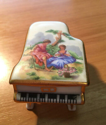 Limoges Porcelain Miniature Piano With Removable Lid