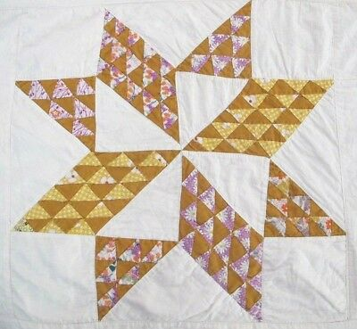 RUSTIC Vintage All Feed Sack Hand Pieced FLYING GEESE ~ PINWHEEL STAR Quilt FULL