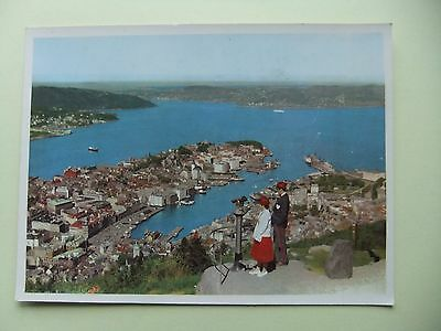 Bergen Norway  Postcard:  THE DOCKS  AND THE TOWN SEEN FROM FLOYEN MOUNTAIN