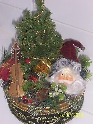 Vintage  Christmas Flocked Tin Wind Up Plays Jingle Bells Decorations On Top