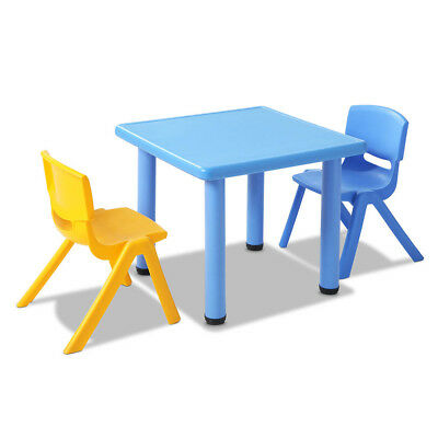 3 Piece Kids Study Table and Chair Set - Blue