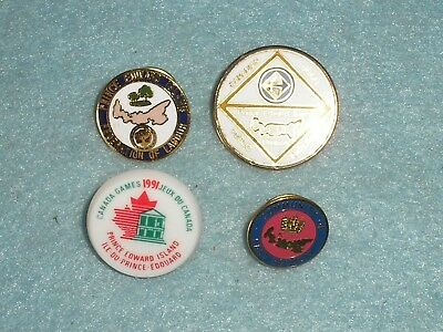 4 Vintage CANADA PRINCE EDWARD ISLAND EAST ROYALTY ENAMEL BADGES - COLLECTION