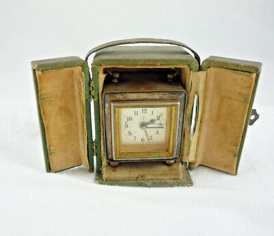 Antique Vintage Travel Clock Working Alarm Marked J 1880-1910