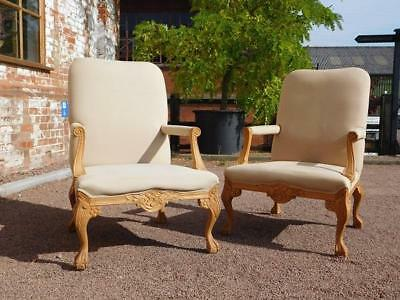 PAIR OF ANTIQUE & GAINSBOROUGH STYLE CARVED PINE ARMCHAIRS-for REUPHOLSTERY