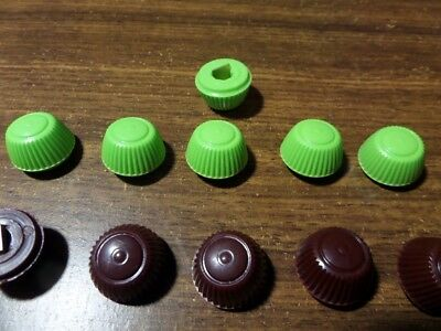 Astor Mickey radio knobs  x 22 pieces  Brown and Green!