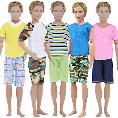 10Pcs = 5 Sets Casual Short Sleeves Shorts Clothes Outfits For Barbie Ken Doll