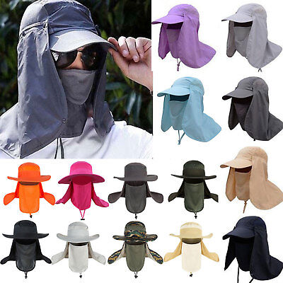 Mens Womens Hiking Fishing Hat Sun Protection Neck Face Flap Cover Wide Brim Cap
