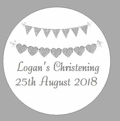 24 x 40mm Personalised Stickers Round Christening Grey Bunting Labels Seals