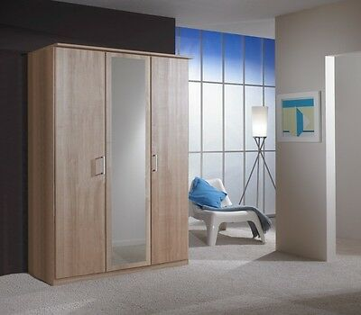 Genoa 3 Door Wardrobe Cupboard Bedroom Furniture Nocce Oak Effect  *BRAND NEW*