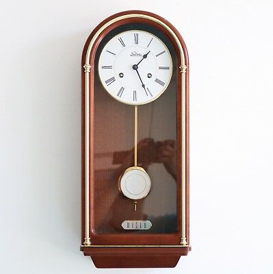 SELVA HERMLE Wall Clock Mid Century Vintage BELL Chime! Germany Wood/Glass 8 Day