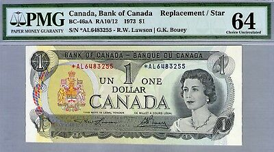 1973 Qeii Canada, Bank Of Canada Replacement/Star $1 Note *Pmg 64 Choice Unc*