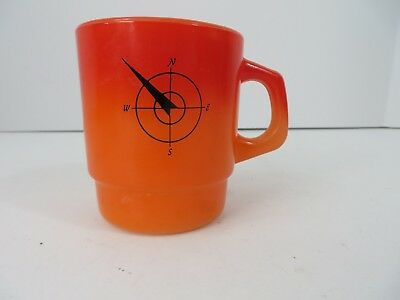 Vtg Fire King Cup Mug Northwestern Bank Orange Ombre Pre 1985 #7996