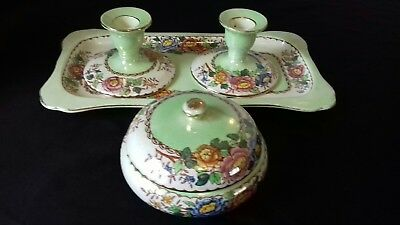 maling lustre dressing table set * green peony rose no 6569*