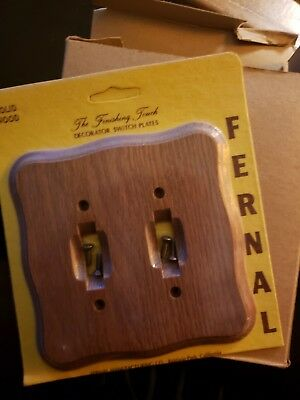 NOS LOT OF 5 NEW Solid Wood Double Light Switch Cover Plate with Hardware #1