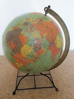 Large Vintage 1950s /1960s Replogle Free Standing Reference Globe 16 Inches High