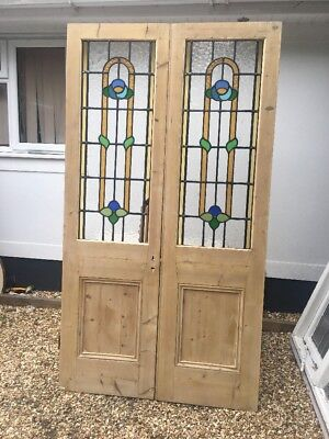 Victorian Edwardian Stained Glass French Doors Antique Period Old