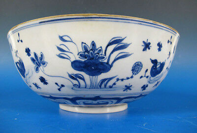 Vintage Ming Xuande Style Blue White Lotus and Duck Pond Large Bowl yqz
