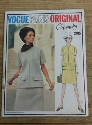 Vintage Vogue #2105 Paris Original Givenchy Two Piece Dress Misses 12 Jewel Neck