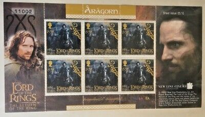 Isle of Man Stamp Sheet 85p Aragorn lord of the rings MNH