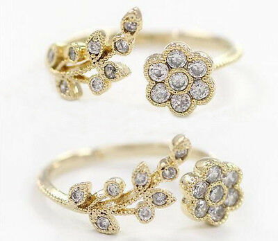 Flower Cubic Adjustable Rings Crystal Engagement Jewelry Ring For Women Open