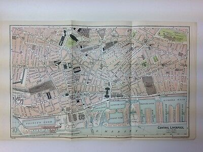 Central Liverpool, Town/Street Plan,  1926 Vintage  Map, Bartholomew, Atlas