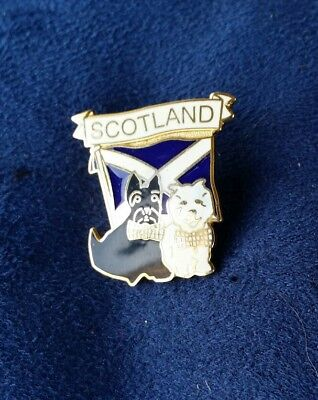 Scottish Saltire Flag with Scotty Dogs Hat Cap lapel Pin