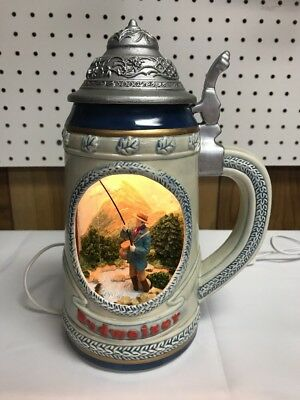 Budweiser Lighted Beer Stein With Fisherman 1998