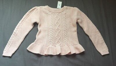 Toddler Girl Size 5 5T Baby Gap Pink Cable Knit Peplum Sweater