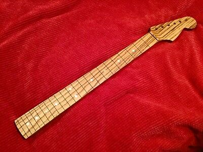 Spectacular African Zebrawood Strat Style Guitar Neck Handcrafted in USA