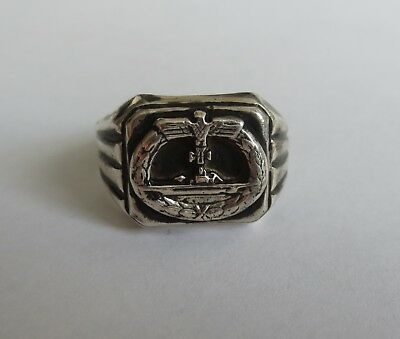 Uboot German ww2 Ring Silver Submarines Ubout 1942