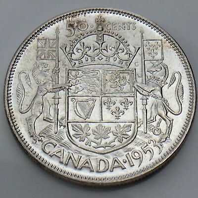 1953 Canada 50 Fifty Cents NSF LD Lustrous Half Dollar Canadian Silver Coin G393