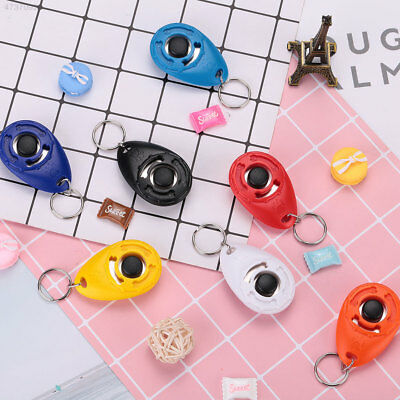 9F8F Pet Dog Training Clicker Trainer Teaching Tool Multi Color With Keychain