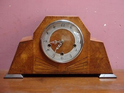 Antique Art Deco Westminster Chimes Oak Cased Mantle Clock 8 Day Movement G.w.o.