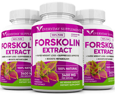 3 x Forskolin Maximum Strength 100% Pure 3200mg Rapid Results! Forskolin Extract