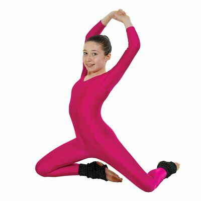 Long Sleeved Nylon Lycra Catsuit Plain Front & Stirrup Foot In (7 Colours)