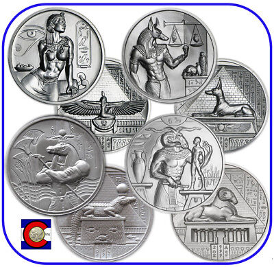 Cleopatra, Anubis, Sobek & Khnum 2 oz silver coins in capsules - Egyptian Gods