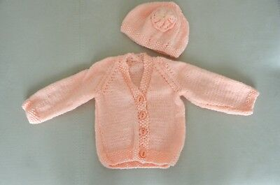 Hand knitted baby girl set cardigan/hat 0 - 3 months