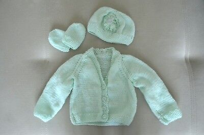 Hand knitted baby girl set cardigan/hat/mitts 0 - 3 months