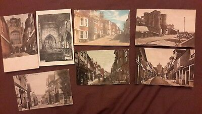 7 x Old postcards of Rye, Sussex - High St, Church Clock, Lion St, Watchbell St,